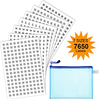 7650 Pieces Clothes Size Stickers Round Clothing Labels 1/2 Inch Adhesive Apparel Sticker Include XS S M L XL XXL XXXL Size with Zipper File Bag