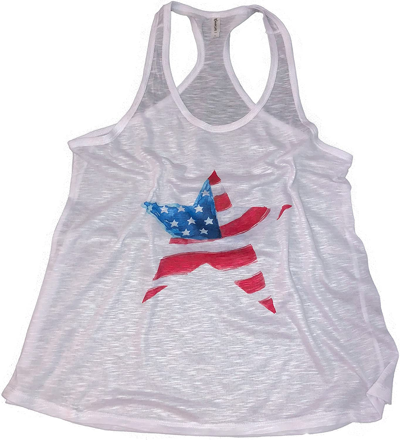 Devious Apparel 4th of July Patriotic USA Water color Workout Flowy Sublimated Women's Star and Stripes