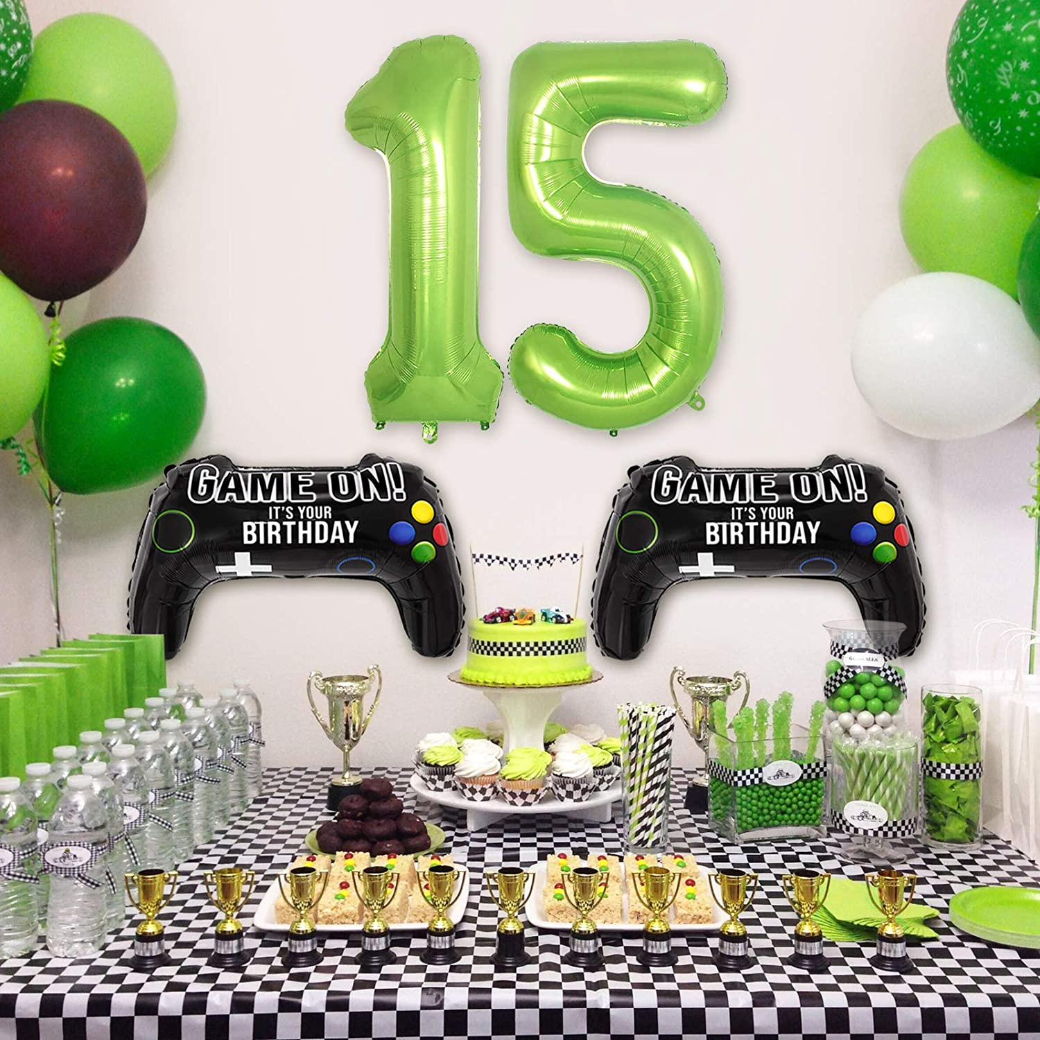 2 Packs Game Controller Mylar Balloons with Green Number Balloons 14 Video Game Party Balloons for Boys 14th Birthday Decorations