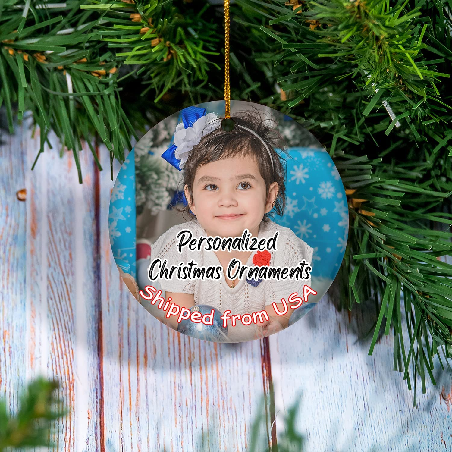 New color Personalized Cheap SALE Start Christmas Ornaments 4 Ch Custom Shapes