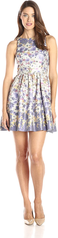 Adrianna Papell Women's Halter Metallic Floral Jacquard Party Dress