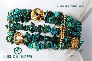 Bracciale verde/oro pietre naturali e swarovski Lorella fatto a mano Made in Italy - Handmade - Regali donna - idee regali...