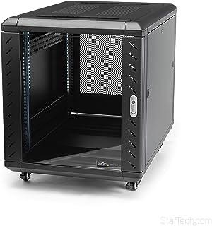 StarTech.com 12U AV Rack Cabinet - Network Rack with Glass Door - 19 inch Computer Cabinet for Server Room or Office (RK1236BKF),Black