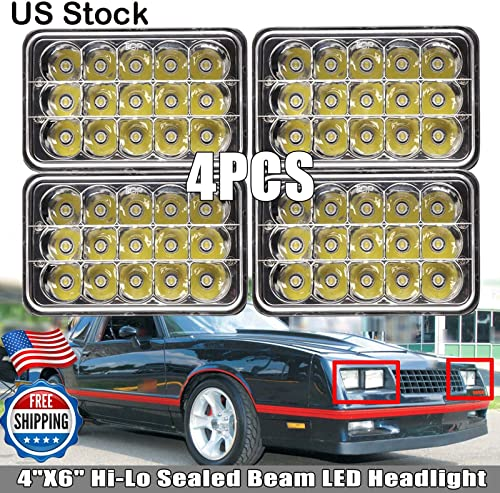"""high quality Pack-4 LED Sealed Beam Headlight 4x6"""" for Chevrolet Monte Carlo K30 2021 S10 High Low Beam Super Bright Rectangular Headlamps to new arrival replace H4651 H4652 H4656 H4666 H6545, US Stock 2 Year Warranty sale"""