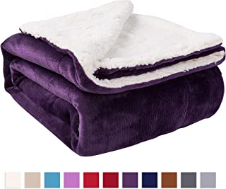 NANPIPER Sherpa Blanket Twin Thick Warm Blanket for Winter Bed Super Soft Fuzzy Flannel Fleece/Wool Like Reversible Velvet Plush Blanket (Purple Twin Size 60