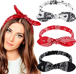 Bandana Headbands for Girls Women Boho Bow Paisley Knot Headwrap Retro Elastic Rabbit Ear Hairband (3 Pieces, Paisley Style)