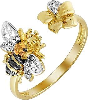 مجوهرات لوري خواتم الماس للنساء - خواتم لخاتم من الذهب الأصفر عيار 14 قيراط مع ألماس أبيض و 0.059 قيراط سيترين جولد للسيدات