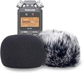 DR05 Windscreen Muff and Foam for Tascam DR-05 DR-05X Mic Recorders, DR05X Indoor Outdoor Microphone Wind Screen by YOUSHARES (2 PACK)