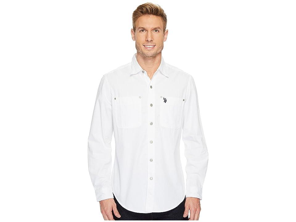 U.S. POLO ASSN. Long Sleeve Dobby Sport Shirt (White) Men
