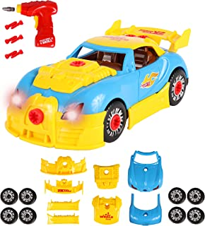 ToyThrill Build Your Own Take Apart Car with Toy Power Drill, Lights and Sounds - More Than 30 Pieces - Fix, Remodel, Drive and Play Racing Car or Convertible