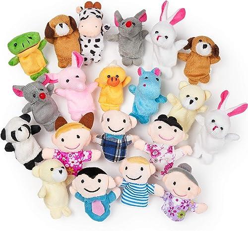 THE TWIDDLERS 20 Marionnettes à Doigts en Peluche: 14 Animaux et 6 Personnes
