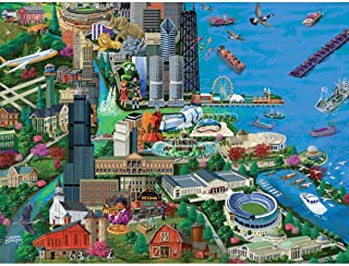 Bits and Pieces - 300 Piece Jigsaw Puzzle for Adults - Chicago City View - 300 pc Millennium Park Jigsaw by Artist Joseph Burgess