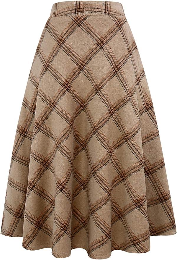 What Did Women Wear in the 1950s? 1950s Fashion Guide IDEALSANXUN Womens High Elastic Waist Maxi Skirt A-line Plaid Winter Warm Flare Long Skirt $39.99 AT vintagedancer.com