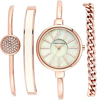 Anne Klein Women's Bangle Watch and Swarovski Crystal Bracelet Set, AK/1470