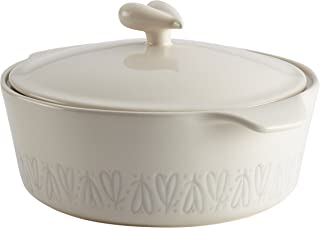 Ayesha Curry Ceramics Dish/Casserole Pan with Lid, 2.5 Quart, French Vanilla