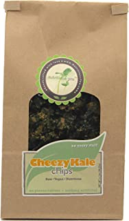 Nutritious You Cheezy Kale Chips, Raw-Vegan, Gluten Free, Dairy Free.