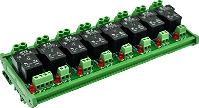 CZH-Labs DIN Rail Mount 24V Passive 8 SPST-NO 30Amp Power Relay Module.