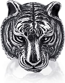 Elfasio Men's Stainless Steel Ring Tiger Animal Silver Black Jewelry Size 8 to 13