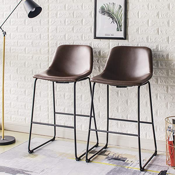 Rfiver Pu Leather Bar Stools Rustic Barstools With Back And Footrest Kitchen Bar Height Stool Chairs Set Of 2 Brown BS1002