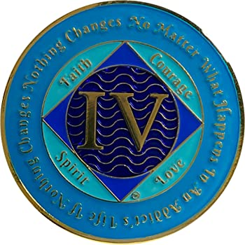 NA 4 Year Gold Color Plated-Medallion, Narcotics Anonymous Coin
