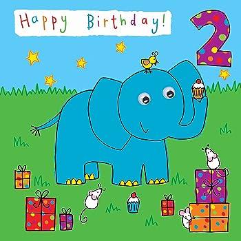 Twizler Carte D Anniversaire 2 Ans Pour Enfant Avec Elephant Et Cadeaux 2 Ans Carte D