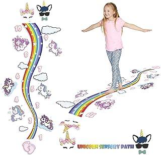 HK Studio Sensory Pathway Floor Decals | Montessori Gym | Rainbow Shape Walk Path with Unicorn Decals for Boosting Gross M...