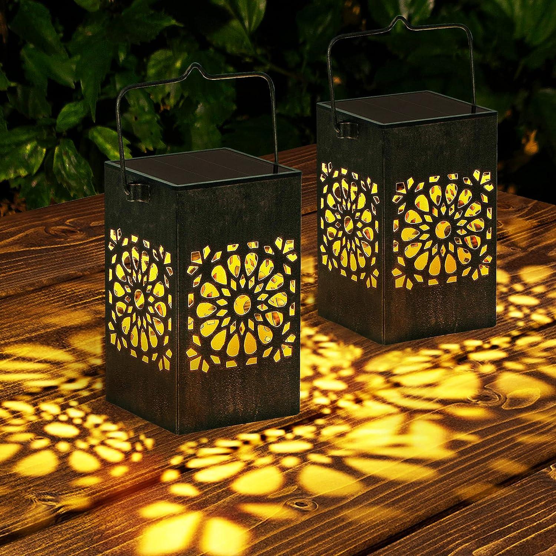 Solar Lanterns Over item handling ☆ Outdoor 2 Pack LED Hanging Albuquerque Mall De Metal Lights
