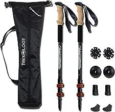 TREKOLOGY Trekking Poles Collapsible Adjustable 2pc/Set Aluminum Telescopic Hiking Pole Walking Sticks with Quick Release Lever Lock and Ergonomic Grip