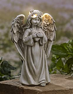 The Lakeside Collection Garden Angels with Solar Halos - Heart