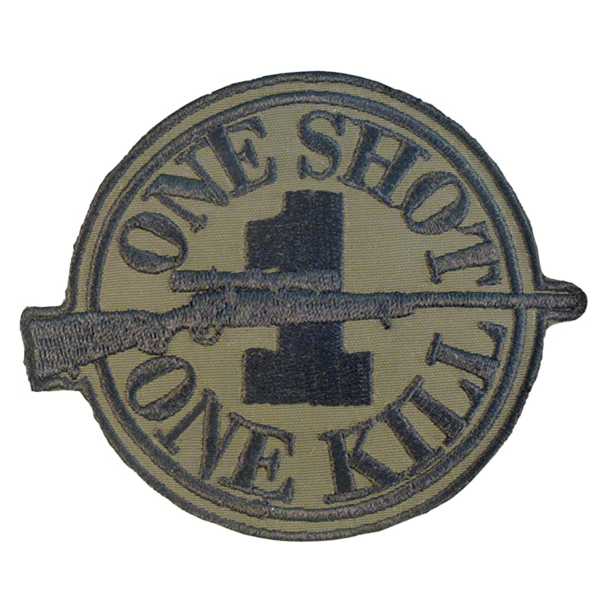 LEGEEON Olive Drab Green Touch Fastener Patch Sniper Morale ONE Shot ONE Kill Camo Uniform BDU