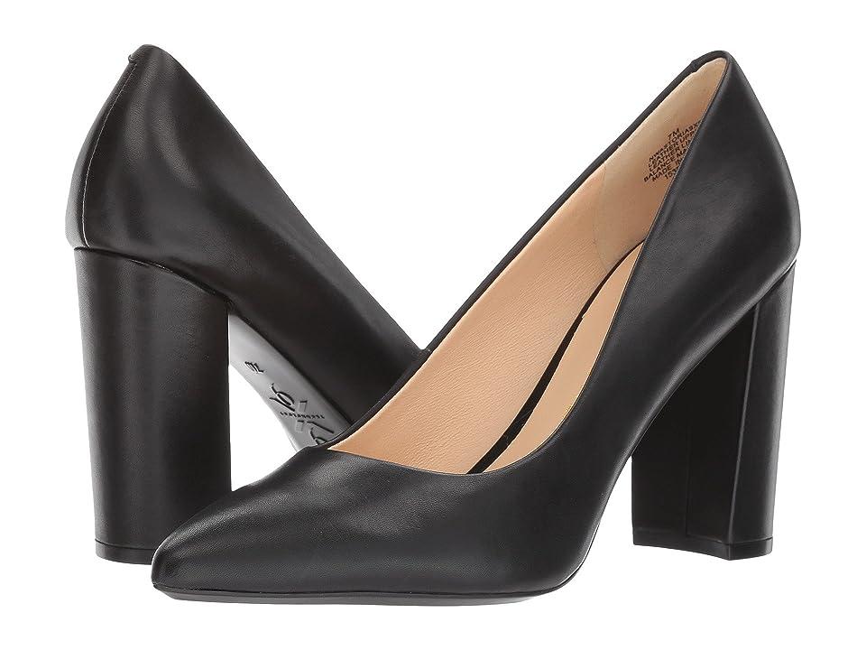Nine West Astoria Block Heel Pump (Black Leather) High Heels