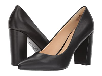 Nine West Astoria9x9 Block Heel Pump (Black Leather) High Heels