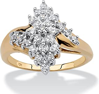 10K Yellow Gold Round Genuine Diamond Cluster Bypass Ring (1/2 cttw, I Color, I3 Clarity)