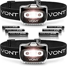 Vont 'Spark' LED Headlamp Flashlight (Batteries Included) Head Lamp Gear Suitable for Running, Camping, Hiking, Climbing, Fishing, Jogging, Headlight with Red Light, Headlamps - Adults, Kids (2 Pack)