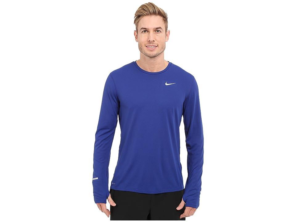 Nike Dri-FITtm Contour L/S Running Shirt (Deep Royal Blue/Reflective Silver) Men