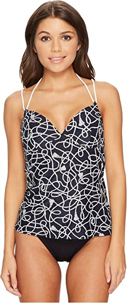 Twisted Rope Halter Double Rope Strap Tankini Top w/ Molded Soft Cups