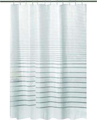 "Fabric Shower Curtain Tan Gray Black Ombre Zig Zag Chevron Print 70/"" x 72/"""