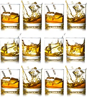 Whiskey Rocks Glasses with Heavy Base and Lead-Free Crystal for Vodka Bourbon Whisky Scotch Liquor Set of 12 Thanksgiving Day Gift for Him