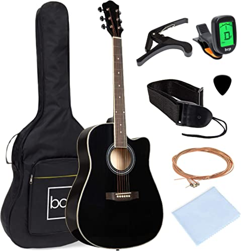 Best Choice Products 41in Beginner Acoustic Guitar Full Size All Wood Cutaway Guitar Starter Set Bundle with Case, St...