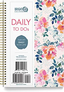 Undated Floral Soft Cover Day Planner Spiral Bound Organizer Book by Bright Day, Daily to Do List Notes and Goals, 6.25 x ...
