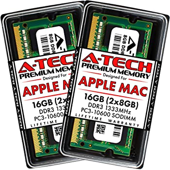 "A-Tech 16GB Kit (2x8GB) DDR3 1333MHz RAM for Apple MacBook Pro (Early/Late 2011), iMac (Mid 2010 27"", Mid 2011 21.5""/27""), Mac Mini (Mid 2011) | PC3-10600 SODIMM 204-Pin Memory Upgrade"