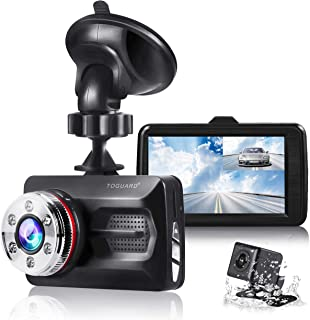 "TOGUARD Dual Dash Cam Front and Rear Night Vision 1080P Car Camera and 720P Rear View Backup Camera 170° Wide Angle 3.0"" LCD, 24 Hours Parking Monitor"