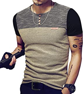 Mens Slim Fitted Casual Short/Long-Sleeve Button T-Shirts Contrast Color Stitching Tee