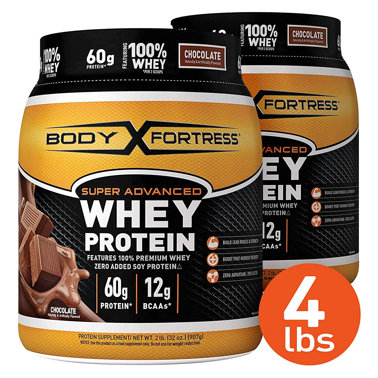Body Fortress Super Advanced Whey Protein Powder, Gluten Free, Chocolate, 2 lb, 2 Pack