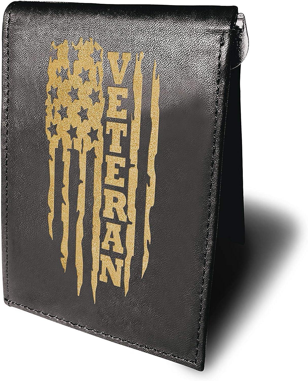 U.S Army Veteran America Flag Cowhide Leather Laser Engraved Engraving Minimalist Slim Money Clip Black RFID Blocking Front Pocket Leather Mens Wallets