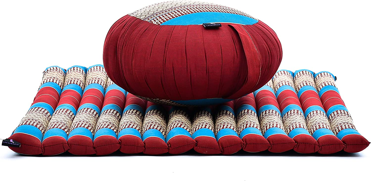 Meditation Set  Zafu Cushion, Zabuton Mat, 76x72x25 cm, Kapok, blueee Red