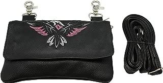 Juzar Tapal Collection Women Biker Leather Hip Loop Hanging Bag Black n Pink Eagles Clip Pouch,Motorcycle Bag & Fanny Pack