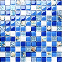 TST Glass Conch Tiles Beach Style Sea Blue White Glass Mosaic Mother of Pearl Resin for Bathroom Shower TSTNB07 (1 Sample 12x12 Inches)