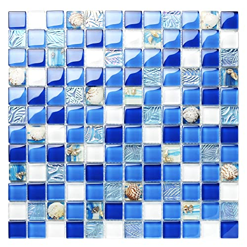 Mosaic Blue and White Tiles: Amazon com