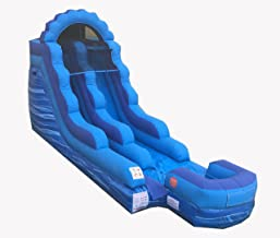 TentandTable 15-Foot Blue Marble Inflatable Water Slide, Wet Dry, Commercial Grade, 1.5 HP Blower Stakes Included